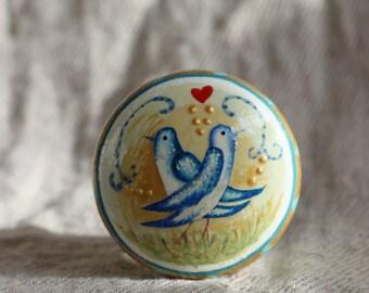hand painted furniture knobs, dresser knob, drawer handles, bird design, gold blue knob, rustic cottage chic, love bird knob  with red heart