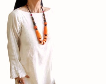 Long Bone Wood necklace, Big bead chunky necklace, Natural Brown and Orange