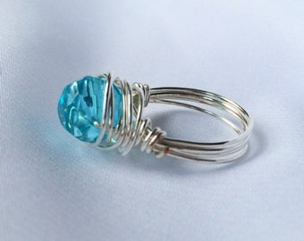 Sky blue wire wrapped ring