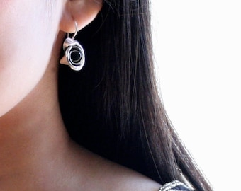Sleek unique handcrafted sterling silver rose earrings with outstanding polished metal texture - 'Blooming rose earrings'