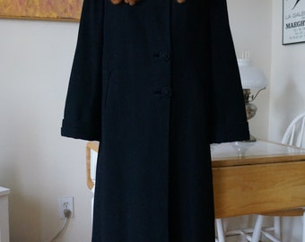 Vintage 1930s 1940s Simpson's Black Wool Coat / Fur Collar Mink Collar Big Cuffs Bell Sleeves Pockets / Art Deco Coat / L Xl