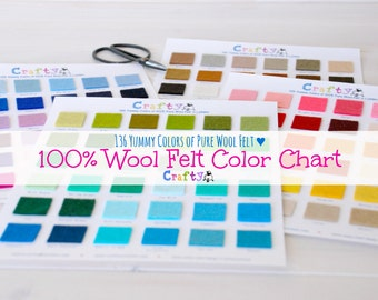 136 Yummy Colors - 100% Pure Wool Felt Color Chart - Beautiful Colors - Felt chart - Wool Felt Swatch Color Chart with DMC Matching Codes