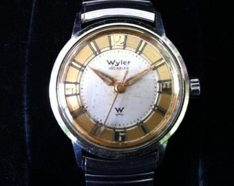Wow What a Wyler!  Incaflex Automatic Men's Swiss Watch - White and Gold Art Deco Two-Tone Dial - 17 Jewels Movement / Outstanding