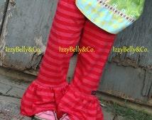 Girls Raspberry Red Stripe Ruffle Pants by IzzyBelly&Co. Minnie 9/12m ~ 7/8