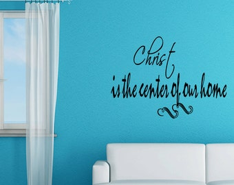 Wall Quotes Christ Is The Center Of Our Home Vinyl Wall Decal Quote Removable Christian Wall Sticker Home Decor (C159)