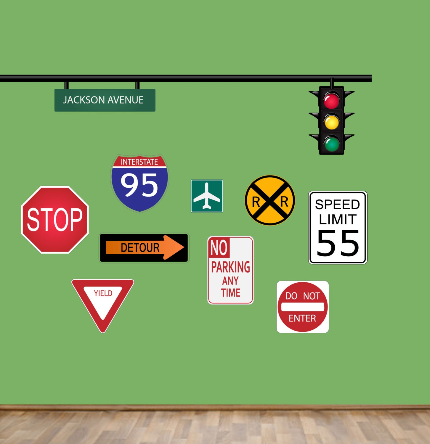Traffic Signs Wall Decor : Road signs wall decal boys street sign decals reusable