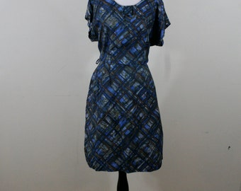 1960s Modern Plaid Rayon Day Dress