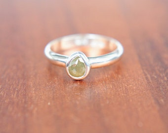 Green Diamond Ring Rose Cut Pear Diamond Ring Natural Diamond Engagement Ring Olive Green Diamond Stacking Ring Promise Ring Size 5,5-7