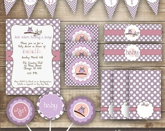 Owl Baby Shower PARTY PACKAGE / Pink & Purple Polka Dots Baby Shower / Baby Girl Shower Party Kit - Printable