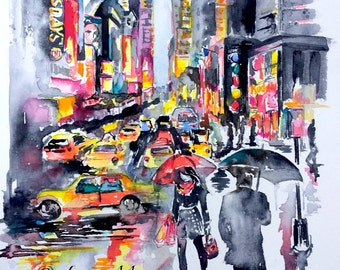 New York City Watercolor Painting by Lana Moes - Art Contemporary Home - Romantic Wanderlust - Colorful - Rainy NYC - Modern Home Decor