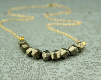 Pyrite Necklace //  Geometric Necklace // Faceted Pyrite // Bar Necklace // Gold Pyrite //  Pyrite Jewelry //