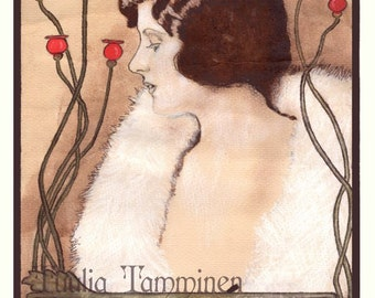 Fine art original Art Nouveau painting drawing mixed media on coffee worked watercolour paper, french poster - Pensées by Tuulia Tamminen