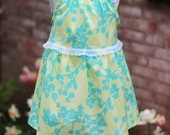 Sleeveless Toddler Dress, Size 2T/3T, Sweet Summer Dress, Aqua, Yellow, Floral, Lace Trim, The Nelle Dress, Ready to Ship