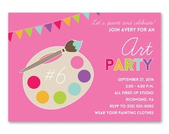 Art Party Invitation - Painting Party Invitation - Art Birthday Printable Invitation - Girls Birthday Parties - Art Party Printables