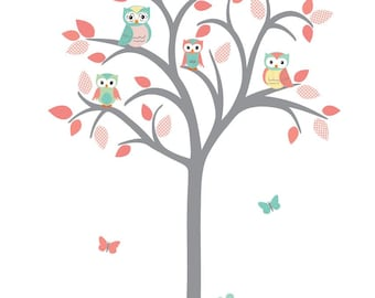 Girl Room Owl tree wall decal, Owl tree wall sticker, Girl Nursery Wall Decal, owl wall decal, nursery wall decal, Coral Rush Design
