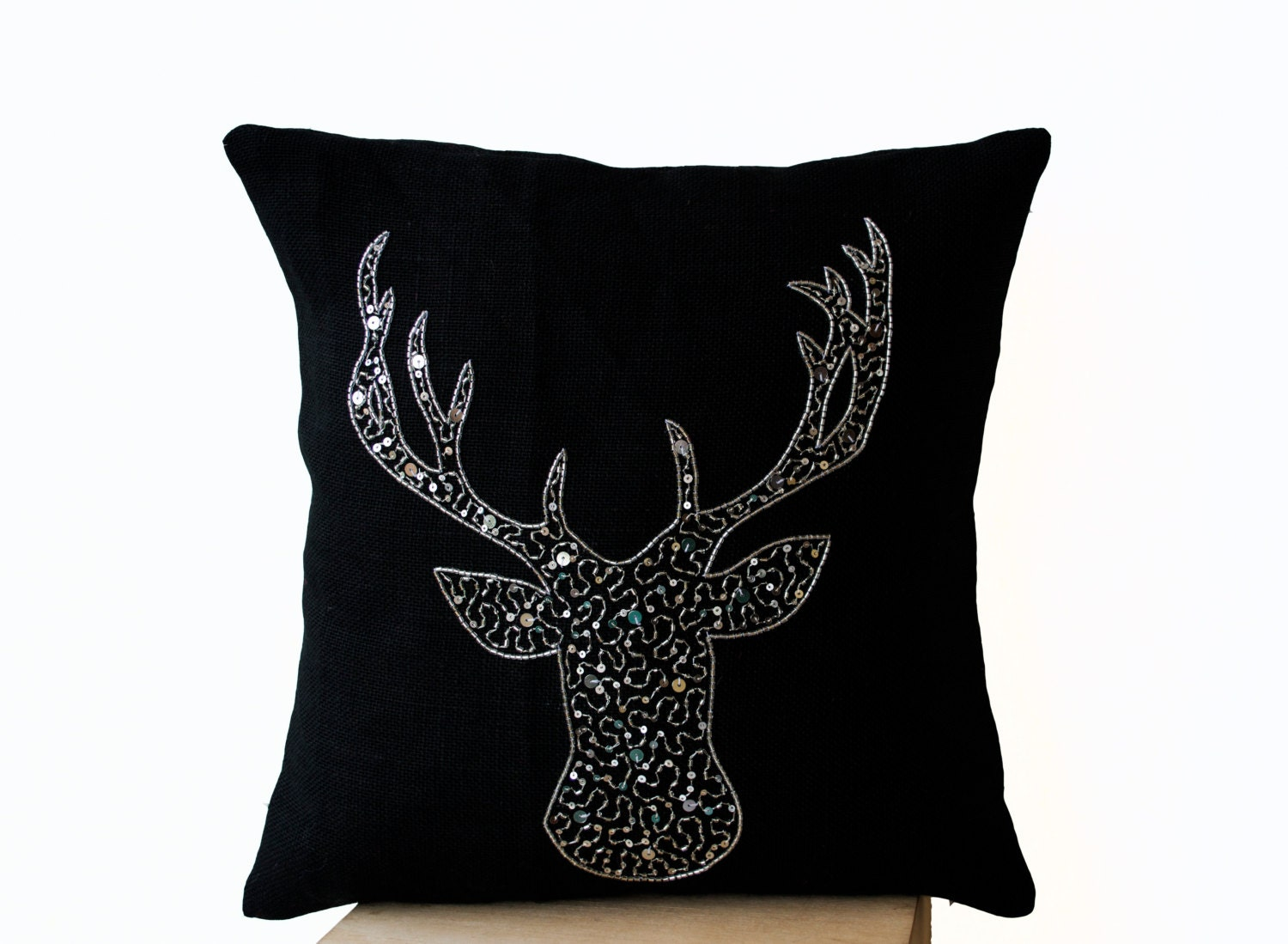 Deer pillows animal pillow stag embroidered in silver sequin