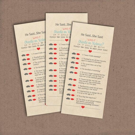 he said she said bridal shower game template - he said she said trivia game 8 deposit printable