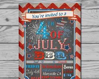 Fourth of July invitation / 4th of July / BBQ / party / fireworks / picnic / potluck