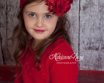 Red Velvet over the top headband, couture headband, ott headband, flower headband, over the top bow, baby headband, hair bow, red headband