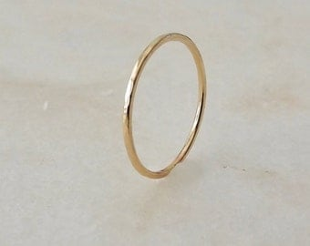 Solid 14k Gold Ring, Hammered Gold Band, Minimalist Ring, 14k Gold Stacking Ring, Dainty Wedding Ring, Gold Stack Ring, Etsy Gift Ideas