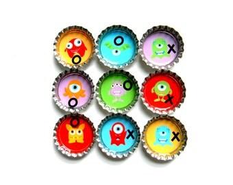 Tic Tac Toe - Bottle Cap Magnets - Monsters - Set of 10