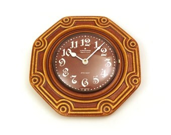 Retro warm brown earthenware / ceramic wall clock. By Junghans Germany.
