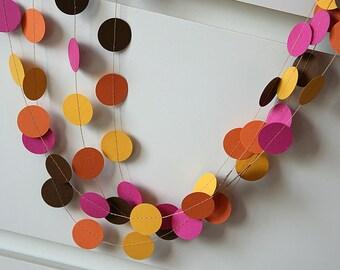 Pink, orange, yellow, brown garland - paper garland - Dots garland - Birthday party decor - Nursery decoration, Birthday decor, KC-1007