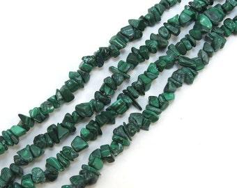 Green Malachite Chips, Dark Green Malachite Beads, Natural Malachite Gemstone Chips, Designer Quality, Jewelry Supplies, Item 191gs
