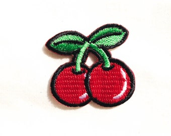 Mini Red Cherry / Iron-on Patches / Fruit Embroidery / Appliqué / Juicy Red Cherries