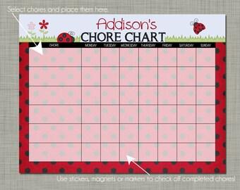 Personalized Kids Chore Reward Chart {Printable} Sized 8.5 x 11 - Ladybug Design
