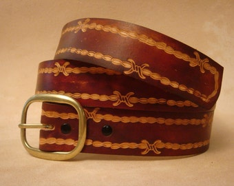 "Hand Tooled Leather Belt - Custom Leather Belt - Personalized Leather Belt - Brown 1-1/2"" Barbed Wire Pattern"