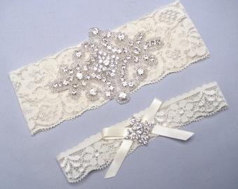 Lace Keepsake and Toss Garter, White or Ivory Bridal Garter Set, Crystal Rhinestone Wedding Heirloom Garters, Love Forever Bridal Boutique