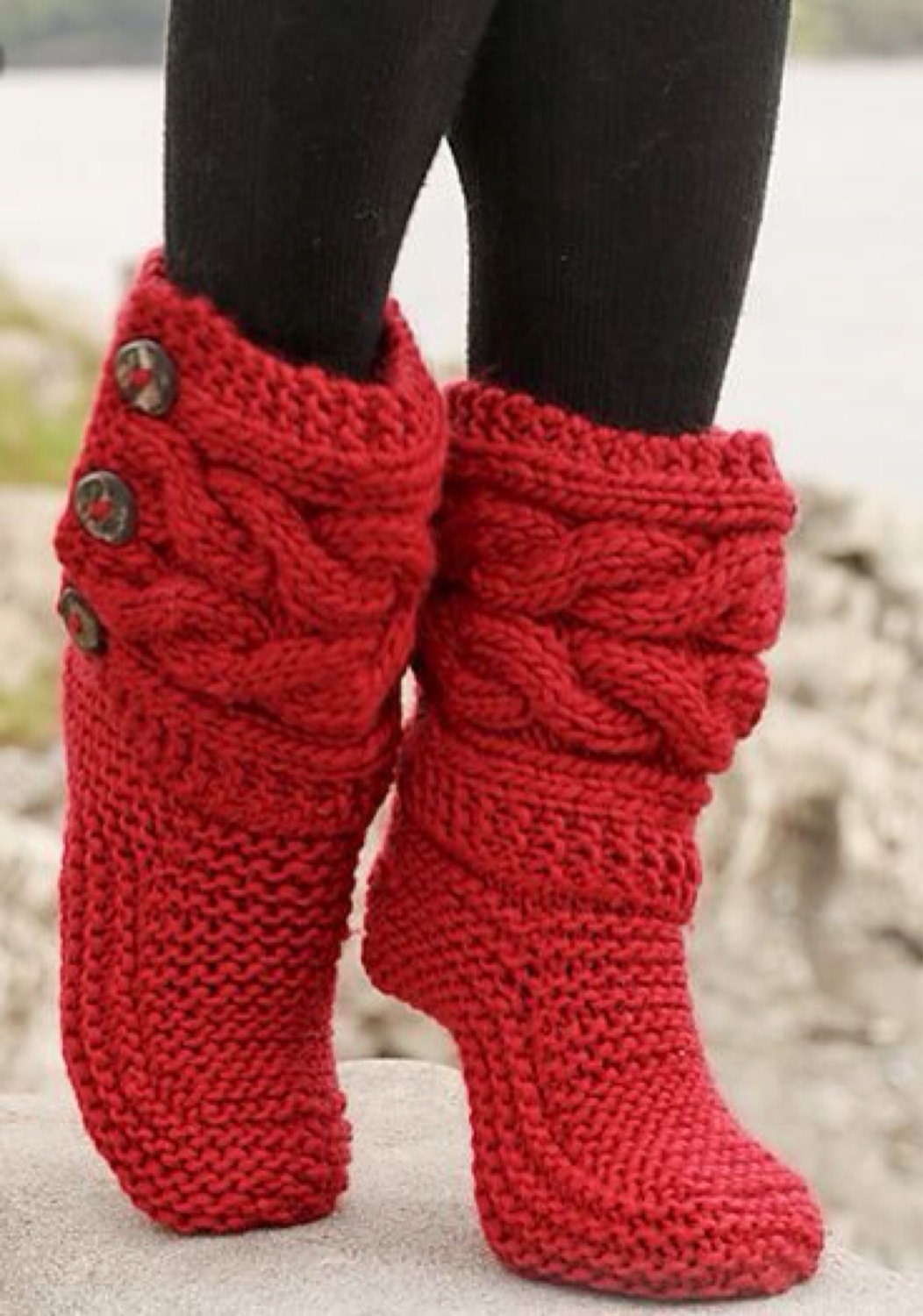 Etsys Favorite-Indoor Knitted Slippers Knitted Boots