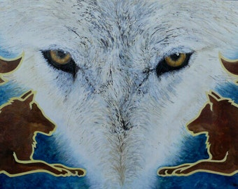 "Guardian at the Gates - 35""x 17"" w/ Matt - Fine Art Color Matched Print - WolfWalking Series by Sonara - - - - - Ready to Frame"