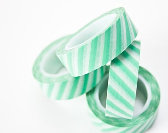 Washi Tape Mint - Green Scrapbooking Tape - Stripe Pastel Masking Tape in Australia