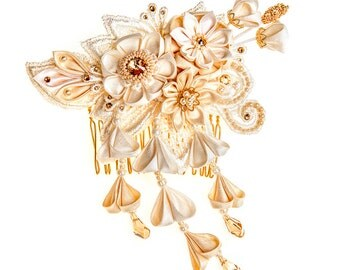 Phoebe  Ivory & Honey Bridal Headpiece comb Silk Flowers Swarovski Crystals Hair Jewelry unique alternative