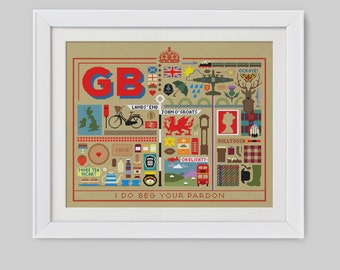 The Great British Sampler Cross Stitch Pattern (Digital Format - PDF)