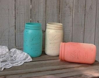 Shabby Chic Mason Jars, Turquoise, Blue, Aqua, Coral, Ivory, Painted Mason Jars, Distressed, Beach Decor