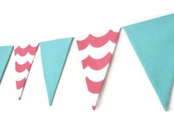 Girls Bunting, flag banner, pennant banner, nursery decor, baby girl - Pink, white and aqua