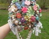 Brooch Bouquet, Wedding, Broche Bouquet, Custom Colors, Rhinestone, Enamel Flowers, Metal, Spring, Pink, Blue green, Vintage, Bridal rainbow