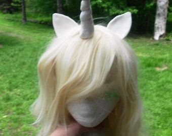 Unicorn wig Unicorn Costume Blond Blonde Wig White Horn Long Curly My Little Pony Cosplay Mlp Side Swept Bangs