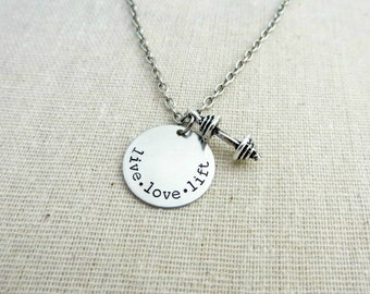 Live Love Lift - Hand Stamped Silver Necklace with Barbell Charm