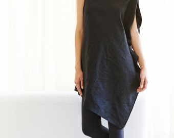Linen Black Dress / Asymmetrical Black Tunic / Oversized Black Top / Loose Casual Black Dress by Arya Sense / DRLN14BL