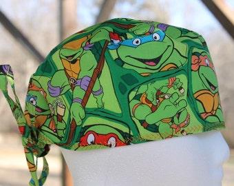 scrub hat/ mens scrub hat/ ninja turtles