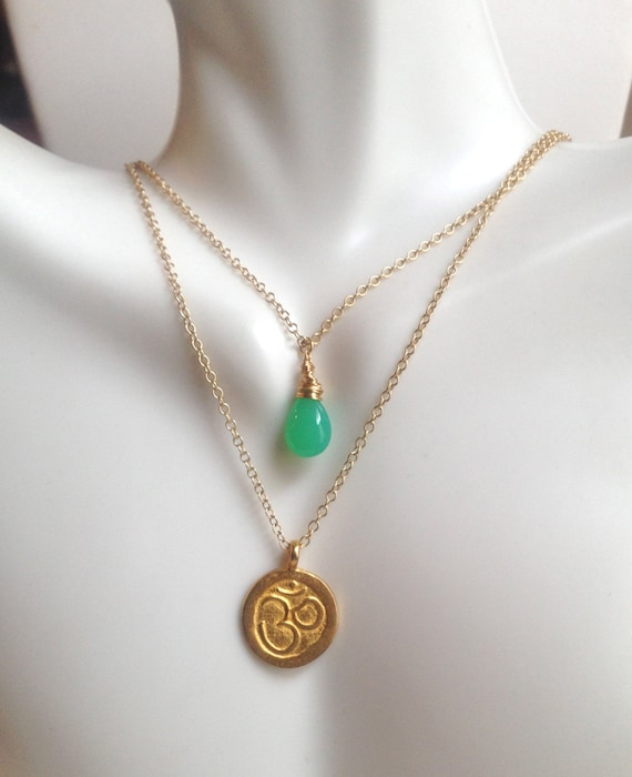 Gold Om Charm Necklace Chrysoprase Pendant  Double Strand Necklace Yoga Inspired Layered Minimalist