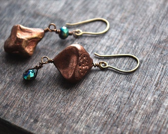 OOAK Boho Chic Earrings, Apoxie Sculpt, Mismatched, Wire Wrapped Jewelry, Whimsical Style, Gift for Her, Under 25