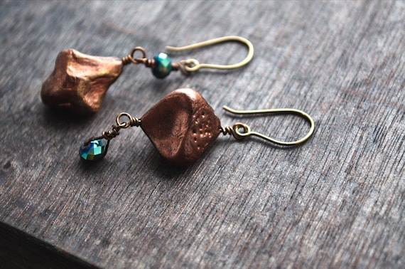 wire wrapped earrings epoxy clay and glass