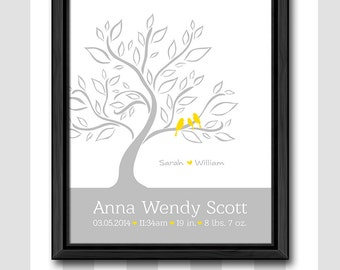 baby birth announcement yellow and gray, neutral baby nursery wall art, birth stats print, baby announcement gift, new baby gift, birth sign