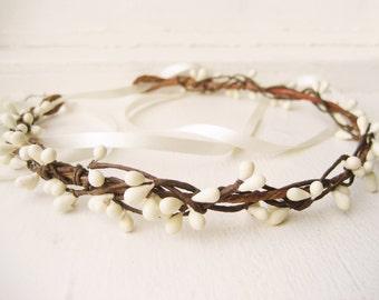Rustic wedding hair accessories, Bridal headpiece, Woodland wreath, Ivory flower crown - MORI