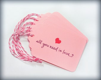 All you need is love Wedding Tag Set Blank holiday gift present tag bakers twine bridal party valentines